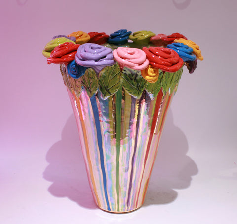 Giant Rose Encrusted Flared Vase Lustred Stripe - MaryRoseYoung
