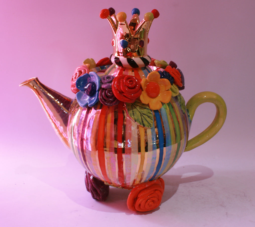 Giant Encrusted Teapot on 3 Rose Feet - MaryRoseYoung