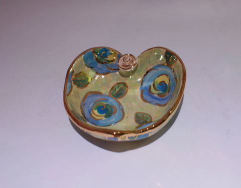 Heart Shaped Bowl Blue Roses on Mint - MaryRoseYoung