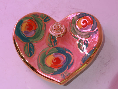 Heart Shaped Soap Dish Green Roses on Pink - MaryRoseYoung