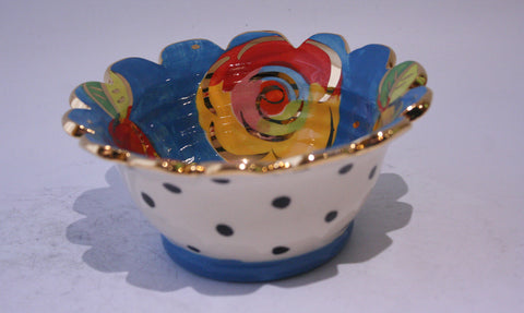 Ice Cream Bowl Gold New Rose Blue with Polka Dots - MaryRoseYoung