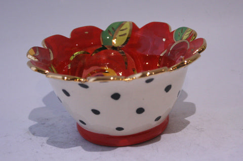 Ice Cream Bowl Gold New Rose Red and Polka Dots - MaryRoseYoung