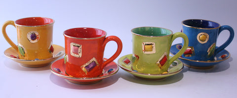 Jewelled Mug and Saucer Orange - MaryRoseYoung