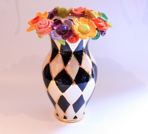 Large Multiflower Encrusted Vase Chequer - MaryRoseYoung