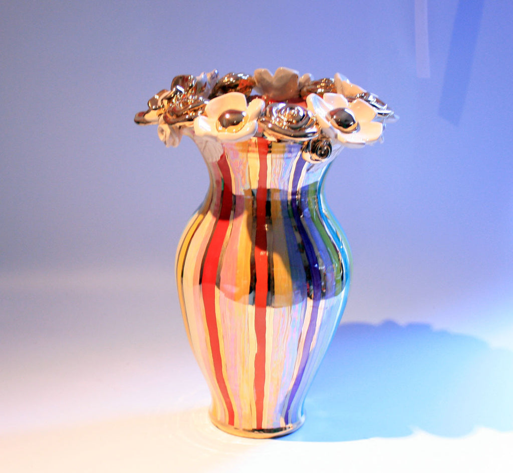 Large Multiflower Encrusted Vase Lustred Stripe - MaryRoseYoung