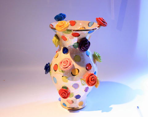Large Rose Studded Vase Coloured Dots - MaryRoseYoung