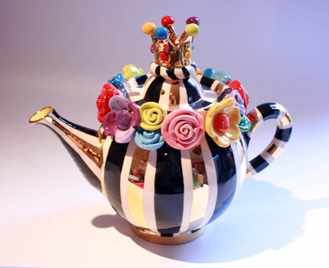 Multiflower Encrusted Crown Lidded Teapot Black and Gold and White Stripes - MaryRoseYoung