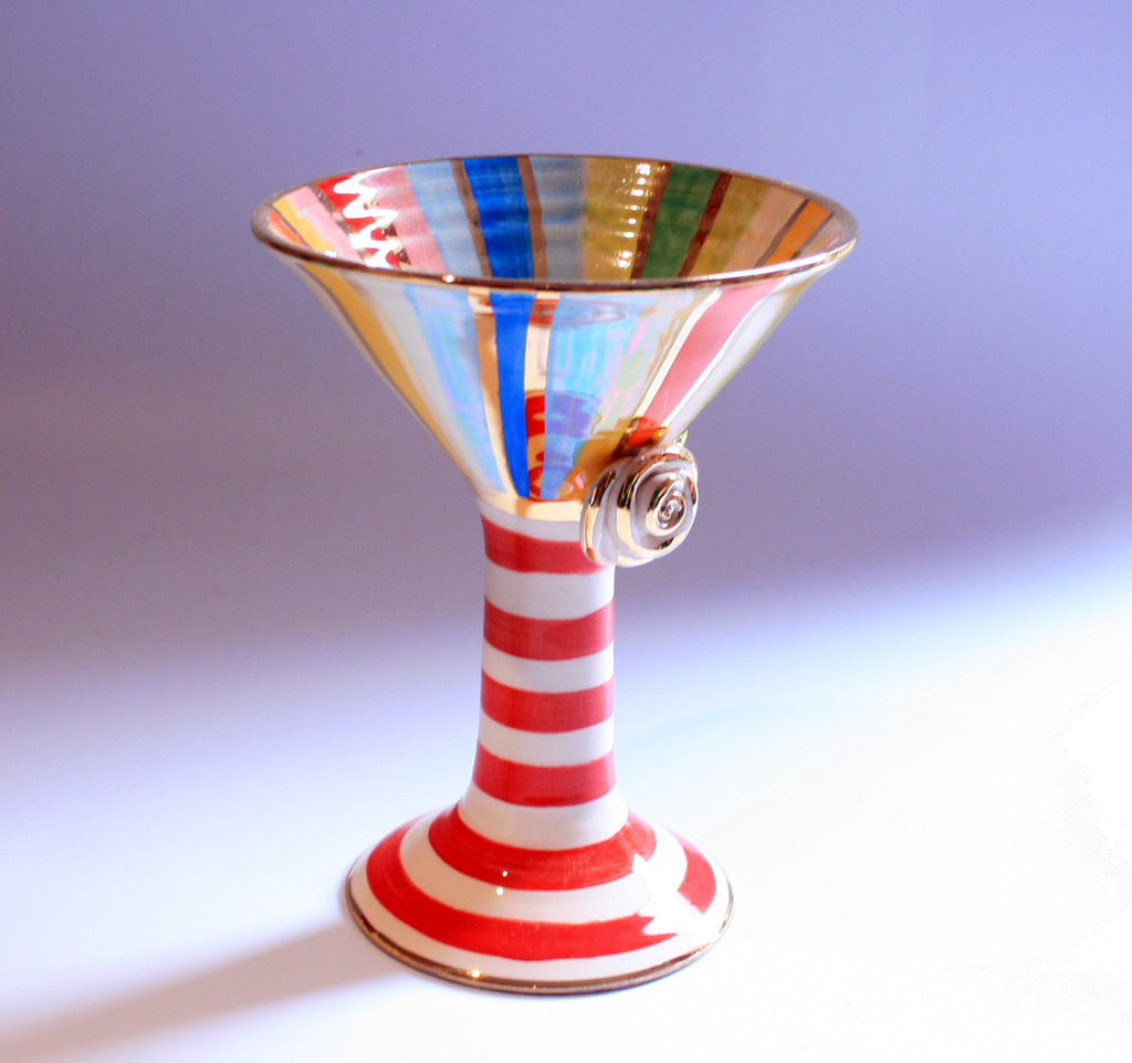 Martini Goblet Lustred Stripe - MaryRoseYoung
