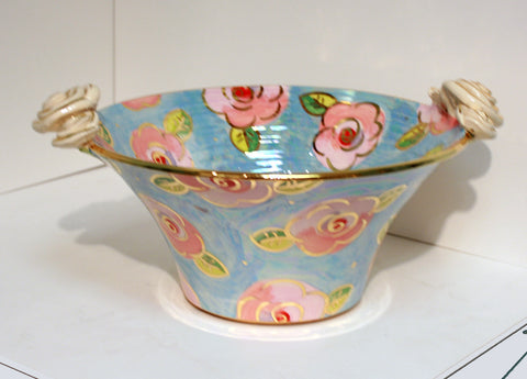 Medium Rose Edged Serving Bowl Blue/Pink Roses - MaryRoseYoung