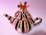 Medium Crown Lidded Teapot Black and White and Gold