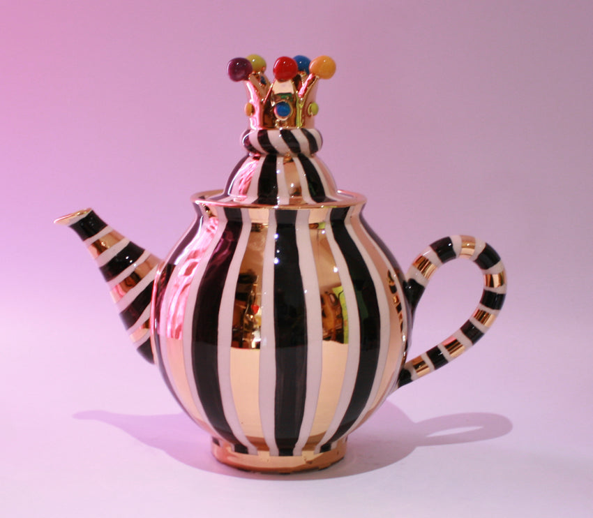 Medium Crown Lidded Teapot Black and White and Gold - MaryRoseYoung