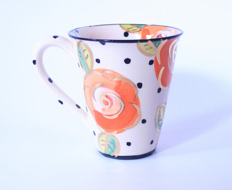 Large Mug Polka Dot Roses Orange - MaryRoseYoung
