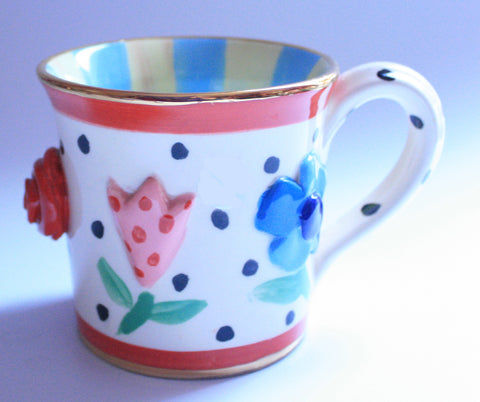 Pressed Flower Mug Blue & Lemon - MaryRoseYoung