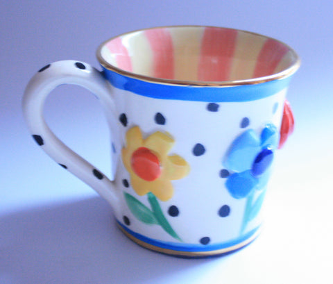 Pressed Flower Mug Salmon & Lemon - MaryRoseYoung