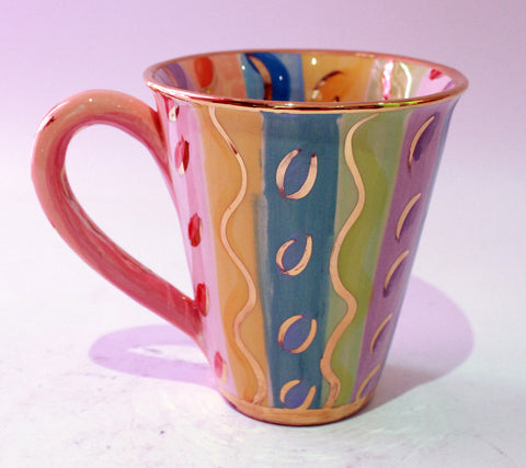 Large Mug Pale Pastel Stripes - MaryRoseYoung