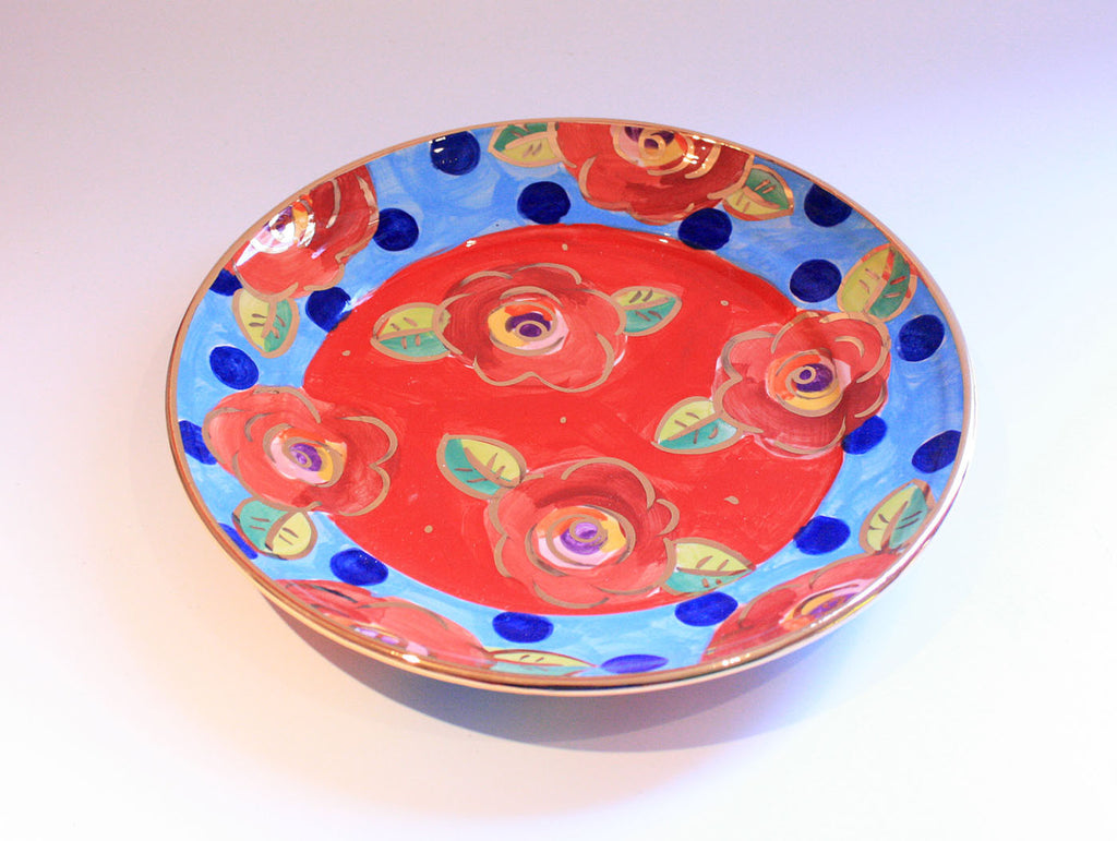 Dinner Plate Roses Red with Dotty Blue - MaryRoseYoung