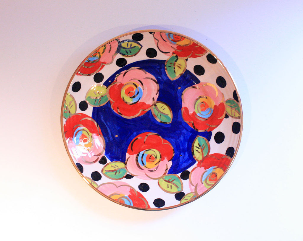 Dinner Plate Roses Dark Blue and Black Dots - MaryRoseYoung