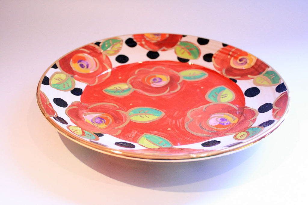 Dinner Plate Roses Red with Black Dots - MaryRoseYoung