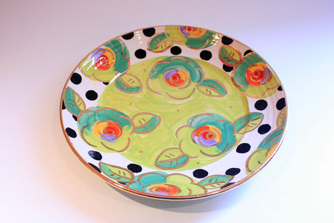 Dinner Plate Roses Lime Green with Black Dots - MaryRoseYoung