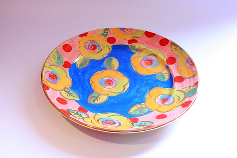 Dinner Plate Blue with Dotty Pink - MaryRoseYoung