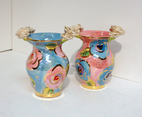 Posy Vase with Blue/Pink Roses - MaryRoseYoung