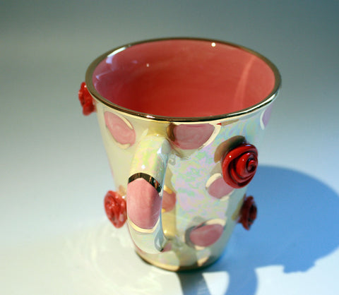 Rose Studded Mug Pink Dots - MaryRoseYoung