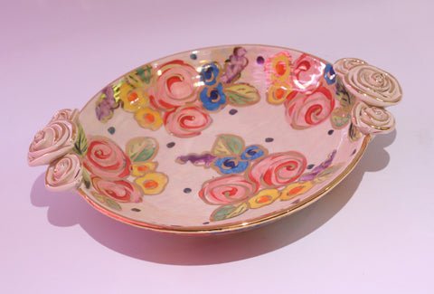 Rose Edged Side Plate Vintage Floral - MaryRoseYoung