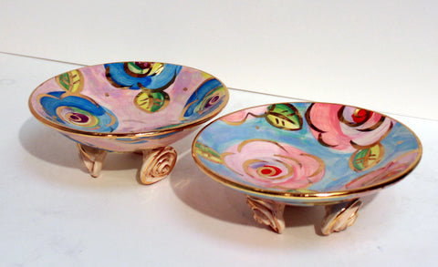 Rose Footed Dish Blue/Pink Roses - MaryRoseYoung