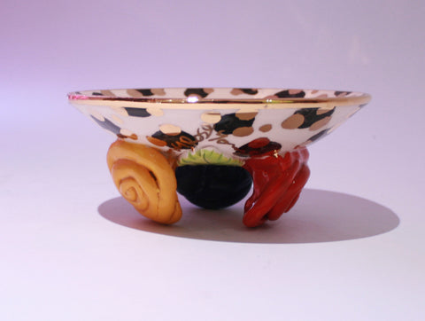 Rose Footed Dish Black/Gold Leopard