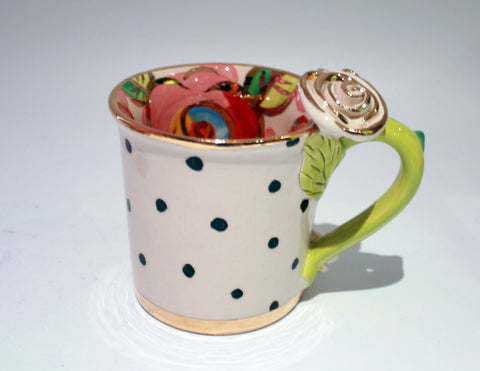 Rose Handled Mug Polka Dots with Red Roses In - MaryRoseYoung