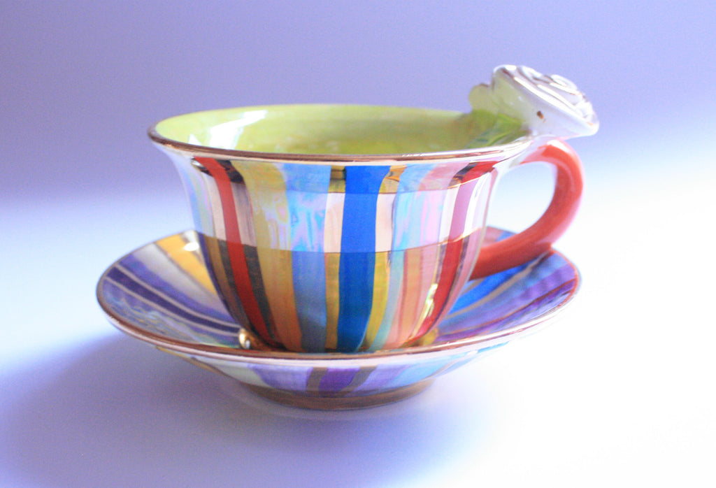 Rose Handled Cup and Saucer Lustred Stripe - MaryRoseYoung
