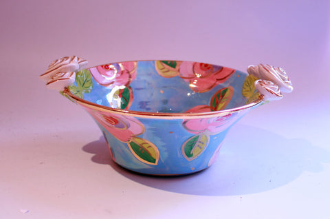 Small Rose Edged Serving Bowl Pink/Blue Roses - MaryRoseYoung