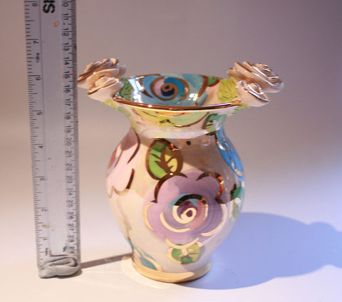 Small Fat Vase Mixed Pale Roses - MaryRoseYoung