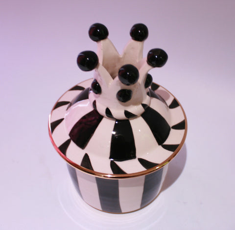 Small Crown Lidded Tea Caddy Black and White - MaryRoseYoung