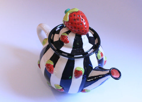 Medium Strawberry Studded Teapot with Black & White Stripes - MaryRoseYoung