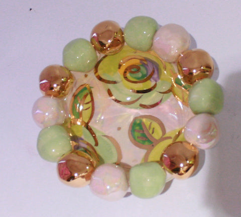 Tiny Beaded Basin Pale Rose Green - MaryRoseYoung