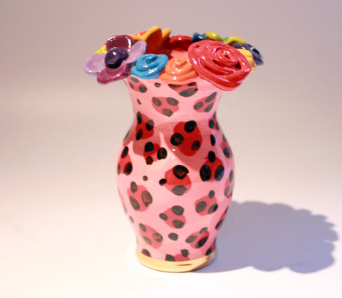"Tiny Multiflower Encrusted Vase ""Red Leopard"" - MaryRoseYoung"