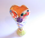 Tiny Heart Vase Gold New Rose Black Dot