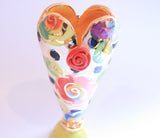 Tiny Heart Vase Gold New Rose Black Dot - MaryRoseYoung