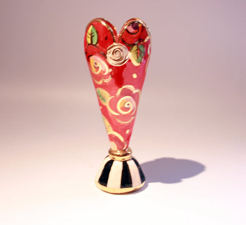 "Tiny Heart Vase ""New Red New Rose"" - MaryRoseYoung"