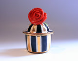 "Tiny Rose Lidded Pot ""Black and White and Gold"" - MaryRoseYoung"