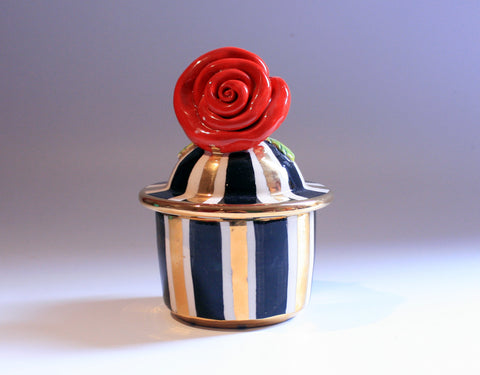 "Tiny Rose Lidded Pot ""Black and White and Gold"""