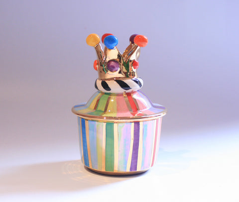 Tiny Crown Pot Lustred Stripe - MaryRoseYoung