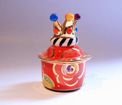 Tiny Crown Lidded Pot Roses on Red - MaryRoseYoung
