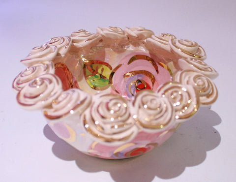 Tiny Rose Encrusted Bowl Pale Rose Pink - MaryRoseYoung