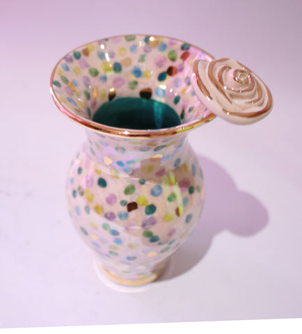 Tiny Rose Edged Vase Confetti Blues - MaryRoseYoung