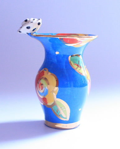 Tiny Rose Edged Vase Blue Rose - MaryRoseYoung