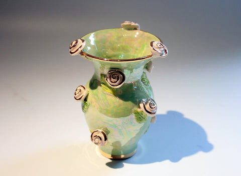 Tiny Rose Studded Vase Pale Green - MaryRoseYoung