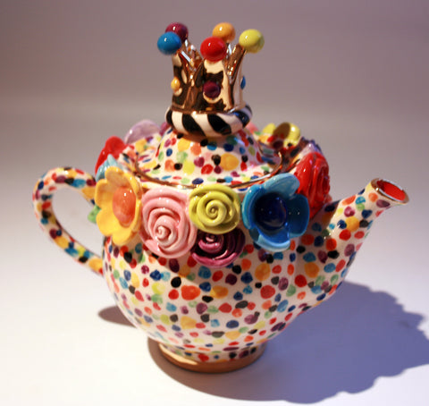 Tiny Crown Lidded Encrusted Teapot Confetti - MaryRoseYoung