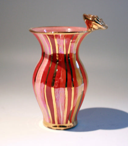 Tiny Rose Edged Vase Shades of Red Stripes - MaryRoseYoung